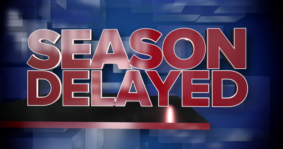 A red and blue dynamic 3D Season Delayed news title page background animation. Many sports programs were postponed in 2020 during the COVID-19 coronavirus pandemic.     Shutterstock HD Video #1057337656