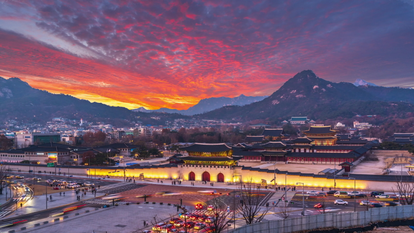 Time lapse 4k Sunset of Gyeongbukgung palace at night in seoul city south,korea.Zoom in | Shutterstock HD Video #1057338973