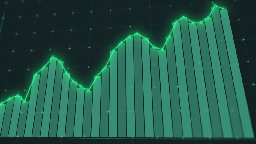 Rising stock graph animation. Dynamic infographics. Growing chart showing successful rates. Global statistics. Business data visualization. Positive trend of currency rate, income. Technological clip