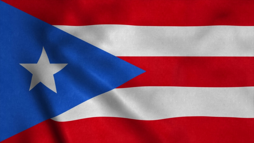 Puerto Rico flag waving in the wind. National flag of Puerto Rico. Sign of Puerto Rico seamless loop animation. 4K