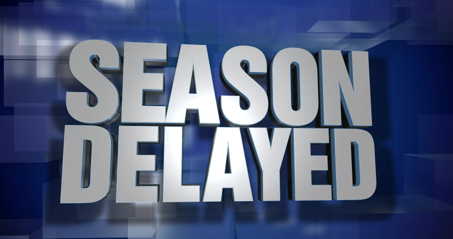 A blue dynamic 3D Season Delayed news transition and title page animation. Many sports programs were postponed in 2020 during the COVID-19 coronavirus pandemic.     Shutterstock HD Video #1057349284