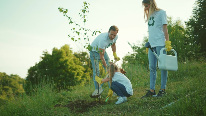 Close up cute family with dog plant tree stand add water to the tree care green garden man environment agriculture planet ecology teamwork gardening slow motion | Shutterstock HD Video #1057358998