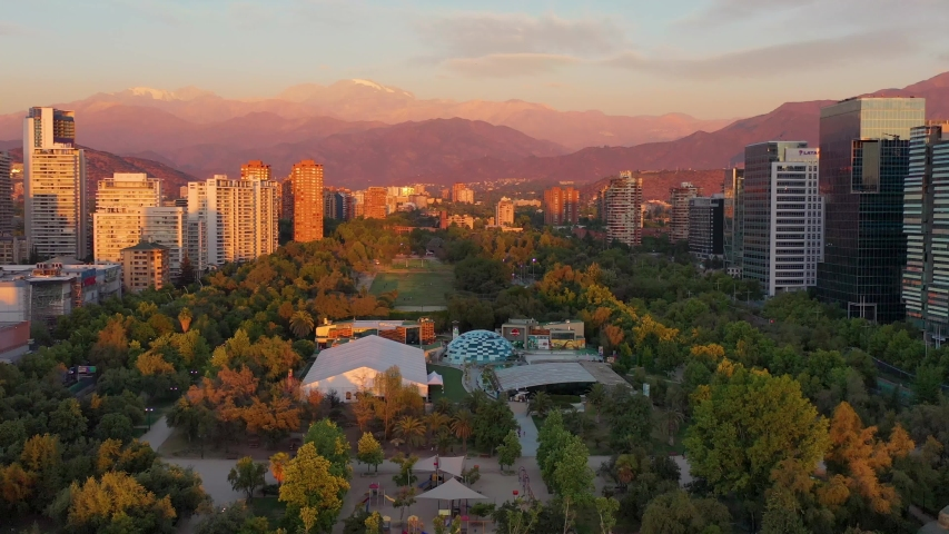 Parque Araucano is a large park in Santiago, Chile. | Shutterstock HD Video #1057364731