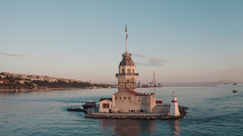 Aerial view of Maiden's Tower and Istanbul Bosphorus. 4K Footage in Turkey | Shutterstock HD Video #1057374613