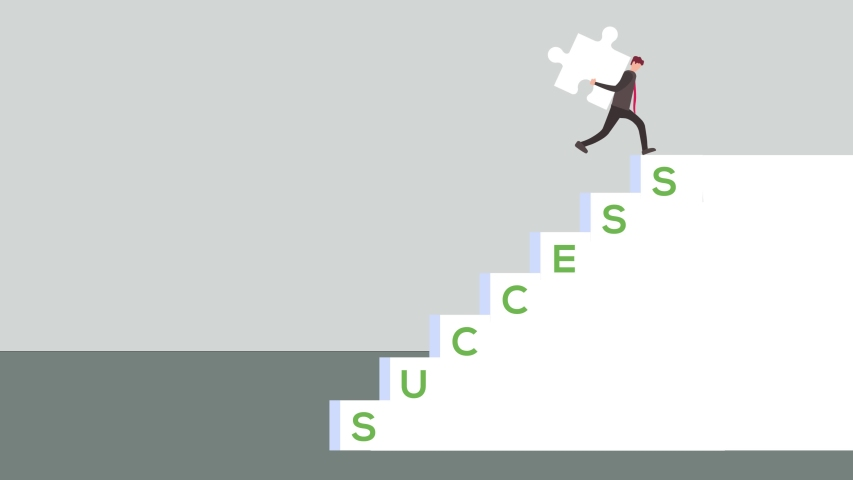 Businessman animation carrying a puzzle piece while climbing stairs with success word. Shot in 4k resolution