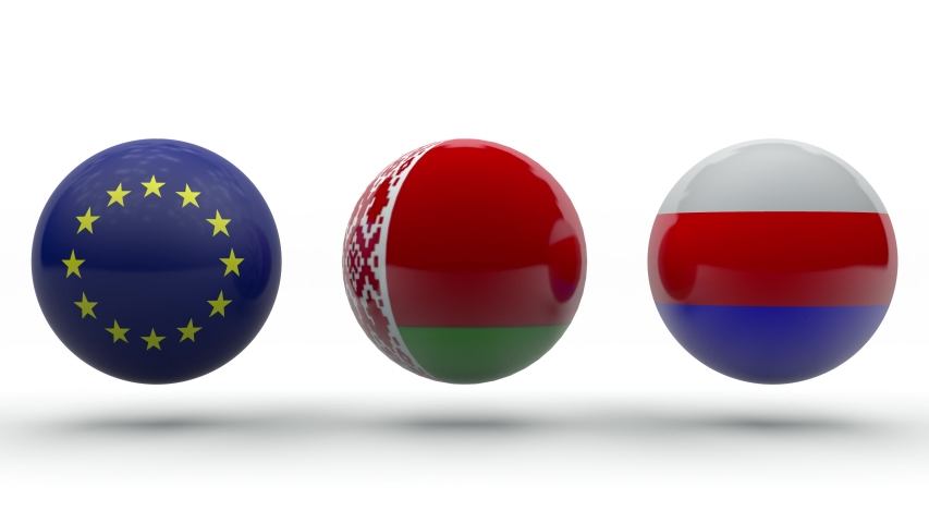 3D animation of three balls with the texture of the flags of Belarus, Europe and Russia. Between a rock and a hard place. Conflicts in Belarus on the background of elections. Collapse | Shutterstock HD Video #1057389793