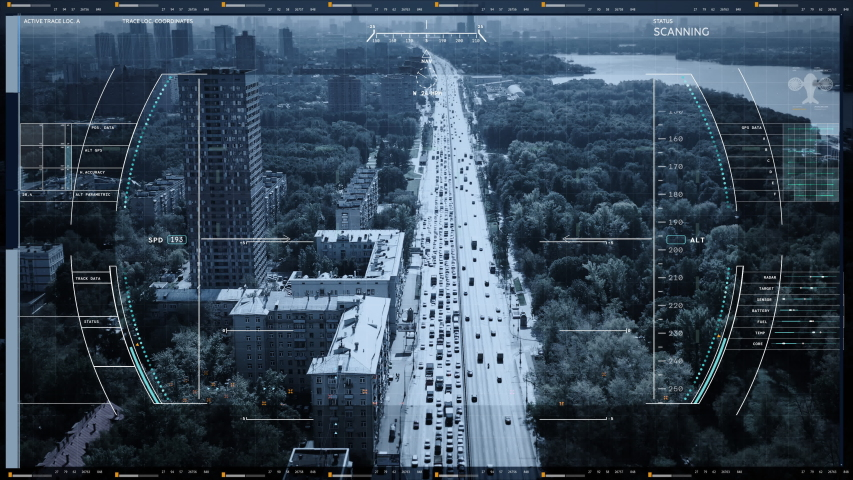 Satellite spy drone dection system scans the road. Car drives down the road at rush hour. Traffic. Modern spy device. Top drone view | Shutterstock HD Video #1057393897