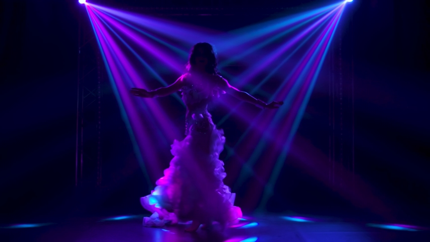 Female belly dancer in a white oriental costume shaking her hips. Shot in a dark studio with smoke and neon lighting. Silhouettes. Slow motion. | Shutterstock HD Video #1057402045