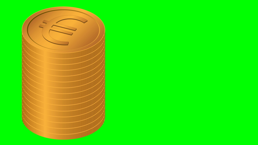 Raising of golden Euro coins stacks on green background. Money saving and economy concepts. 3d animation | Shutterstock HD Video #1057403548