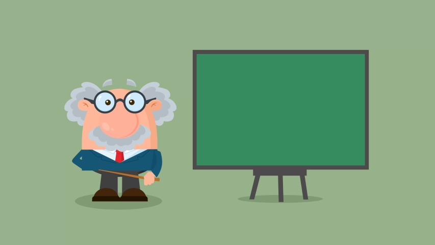 Professor Or Scientist Cartoon Character With Pointer Presenting On A Board. 4K Animation Video Motion Graphics With Background | Shutterstock HD Video #1057404778