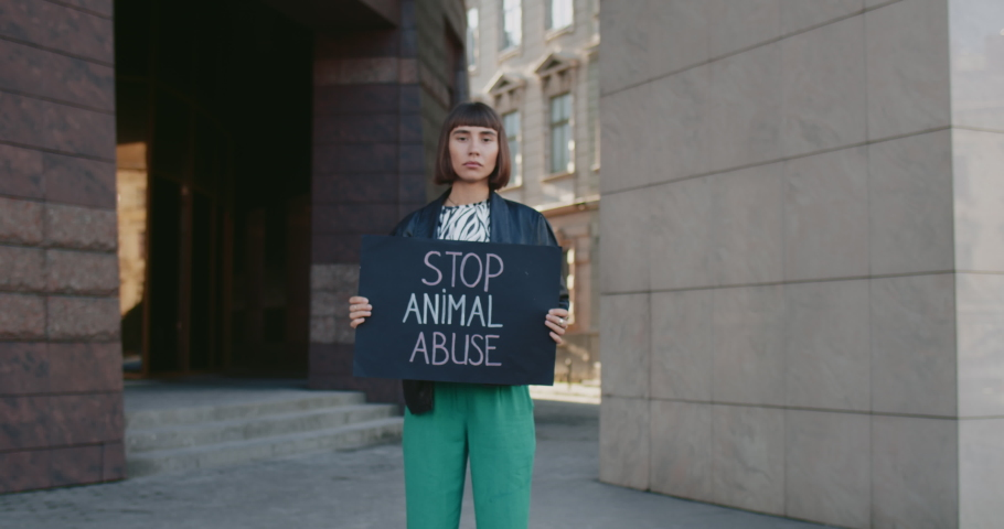 Young woman with nose ring holding placard with stop animal abuse writing while standing at city street. Millennial girl striking against cruelty. Concept of social problems. Zoom in. | Shutterstock HD Video #1057404946
