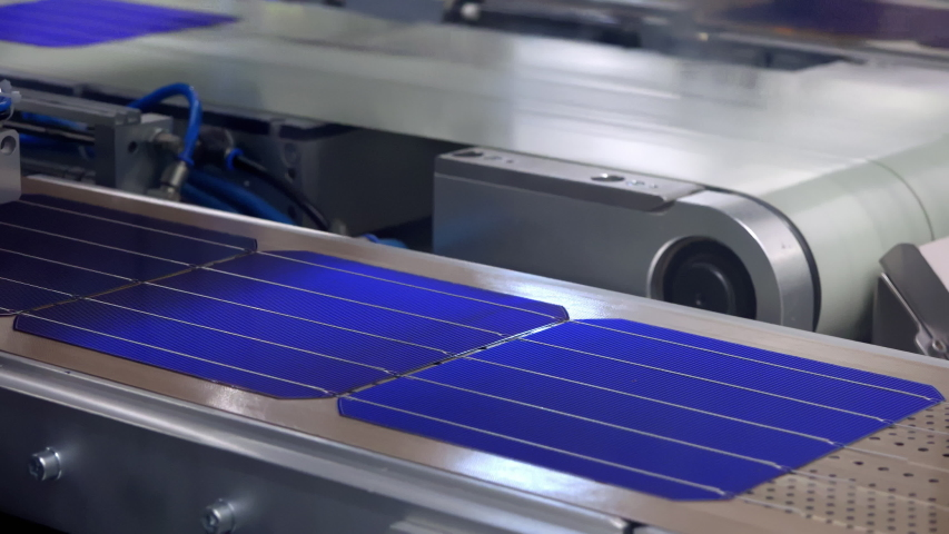 Solder Cells On The Conveyor Belt In The Modern Photovoltaic Factory | Shutterstock HD Video #1057405558