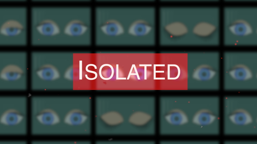 People isolation concept. Cartoon-style animated eyes blinking in multiple windows of building isolated in quarantine area. | Shutterstock HD Video #1057405777