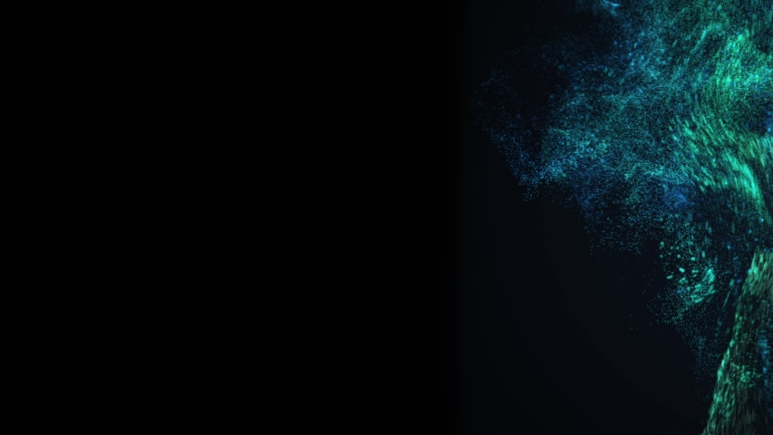 Blue an green dust splashes on the black background. | Shutterstock HD Video #1057405786