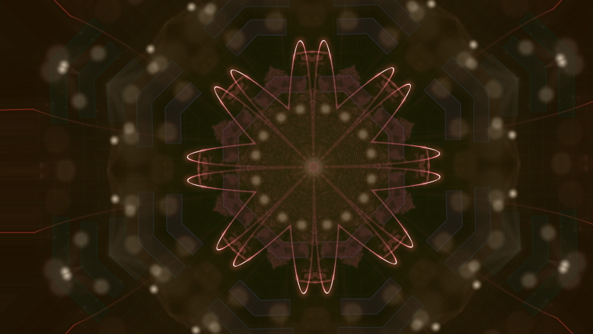 Abstract golden pattern actively generating new impulses from source of power and then giving shockwave effect isolated on black background, | Shutterstock HD Video #1057405789