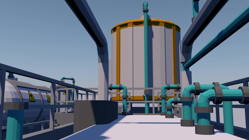 Processing plant equipment and piping. 3D rendering | Shutterstock HD Video #1057406317