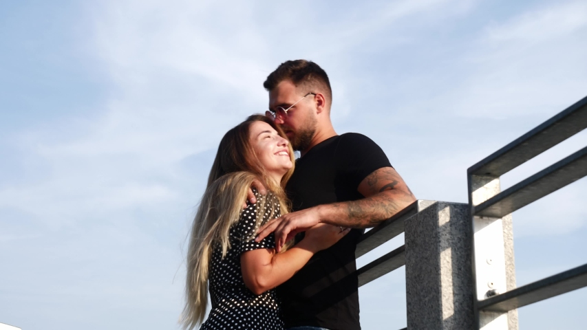Video of a young couple who romantically kissing on the street  | Shutterstock HD Video #1057406371