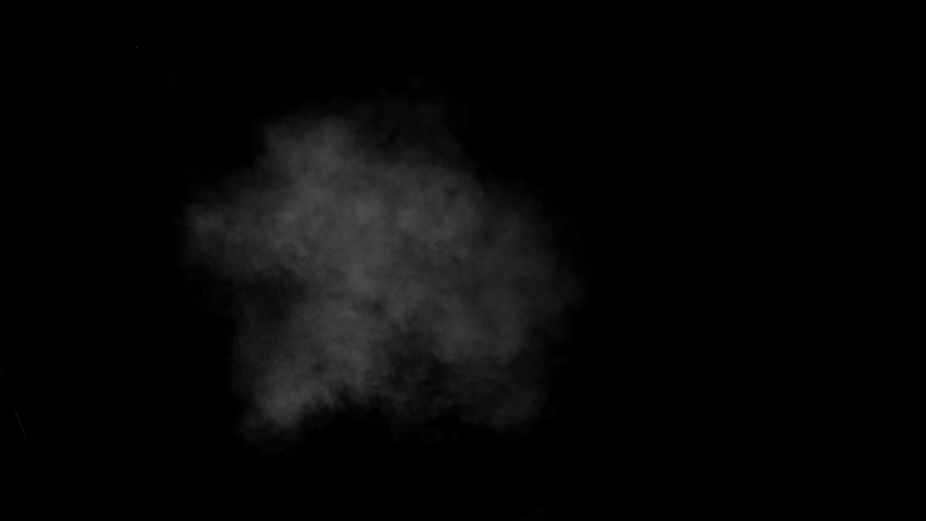 Low density smoke puff spreading concentrically outwards / Gunshot smoke / Shockwave smoke. Separated on pure black background, contains alpha channel.