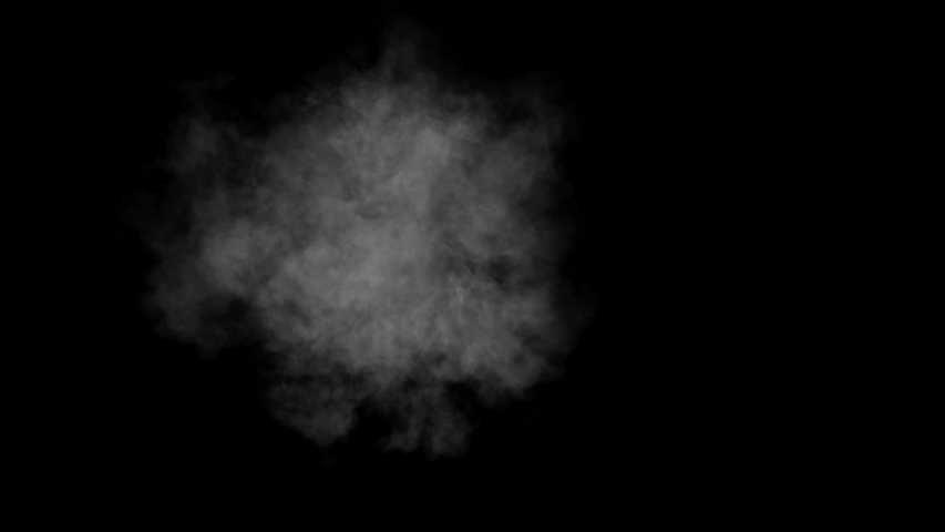Low density smoke puff spreading concentrically outwards / Gunshot smoke / Shockwave smoke. Separated on pure black background, contains alpha channel. | Shutterstock HD Video #1057407307