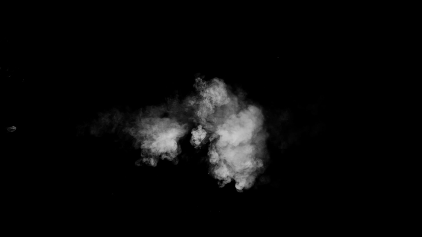 Low density smoke puff spreading concentrically outwards / Gunshot smoke / Shockwave smoke. Separated on pure black background, contains alpha channel. | Shutterstock HD Video #1057407553