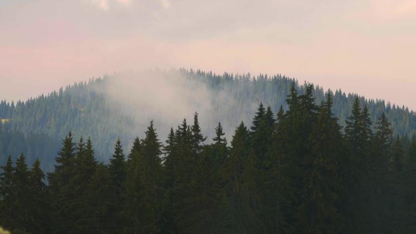 Beautiful mountain range in the fog. The majestic panorama of the layers of mountain. Balkans, Bulgaria, Rhodope mountains.   Shutterstock HD Video #1057407631