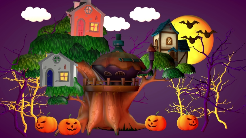 Halloween holiday concept. A small house with pumpkins and a funny ghost. 3D rendering | Shutterstock HD Video #1057407793