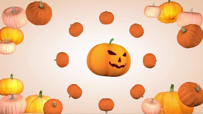 Halloween holiday concept. Background with pumpkins. 3D rendering | Shutterstock HD Video #1057407796