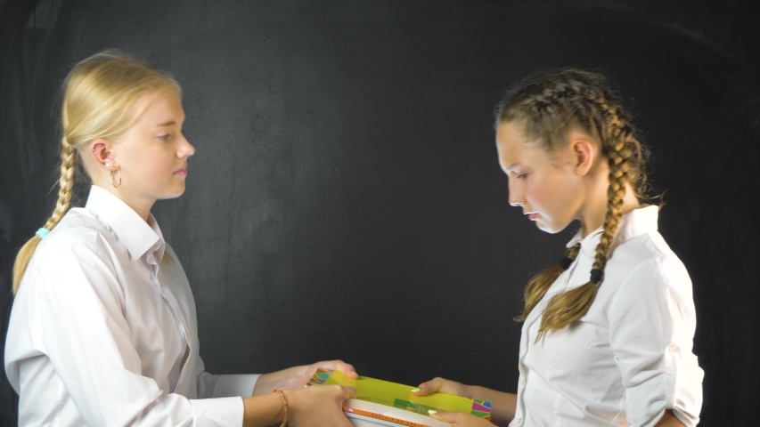 Two young school girls in class on the background of blackboard. Cute schoolgirls in uniform smiling and look at the camera. | Shutterstock HD Video #1057407835