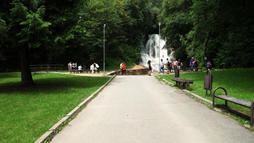 Slowed View of Lucansky waterfall in the village Lucky in Slovakia | Shutterstock HD Video #1057408690
