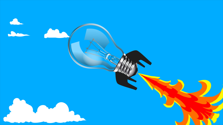 Animation of creative rocket bulb | Shutterstock HD Video #1057408930