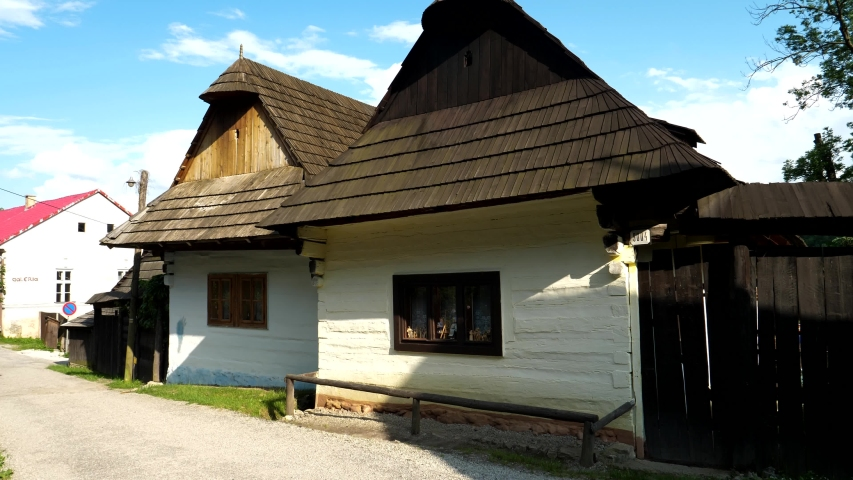 A view of a traditional Slovak house in a museum in the village of Vlkolinec | Shutterstock HD Video #1057409122