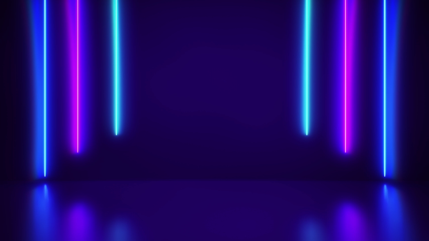 Futuristic Abstract Blue And Purple Neon Line Light Shapes On colorful background and reflective With Empty Space For Text - render, laser show, night club interior lights. Loop animation #1057415746