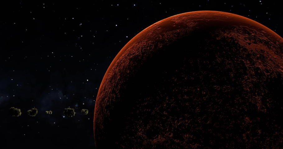 Asteroids orbiting red Mars in outer space closeup as sun reveals from behind planet