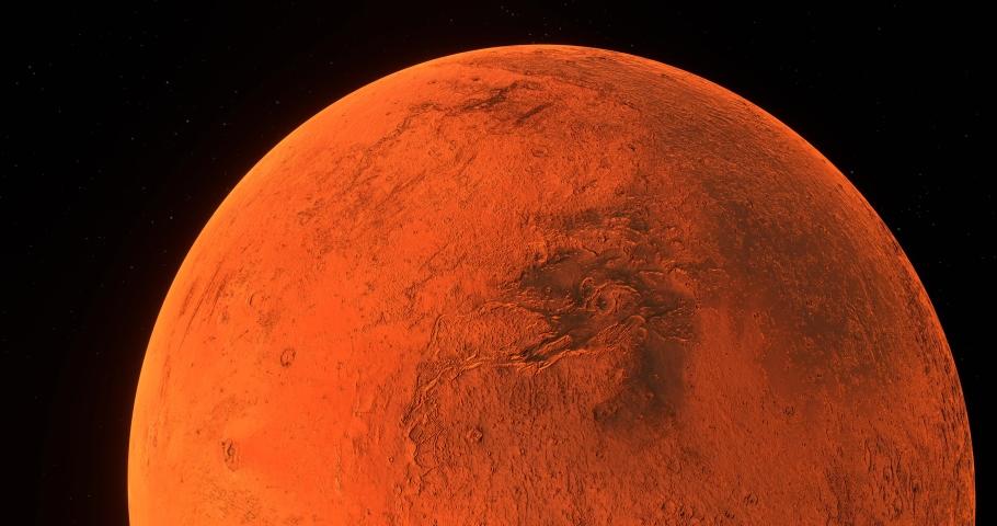 Red planet Mars futuristic closeup on barren textured extraterrestrial terrain