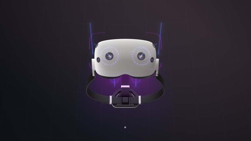 Fictional Virtual Reality Headset. Camera zooms into the headset screen. Holographic overlay depicts headset functionality.   Shutterstock HD Video #1057426522