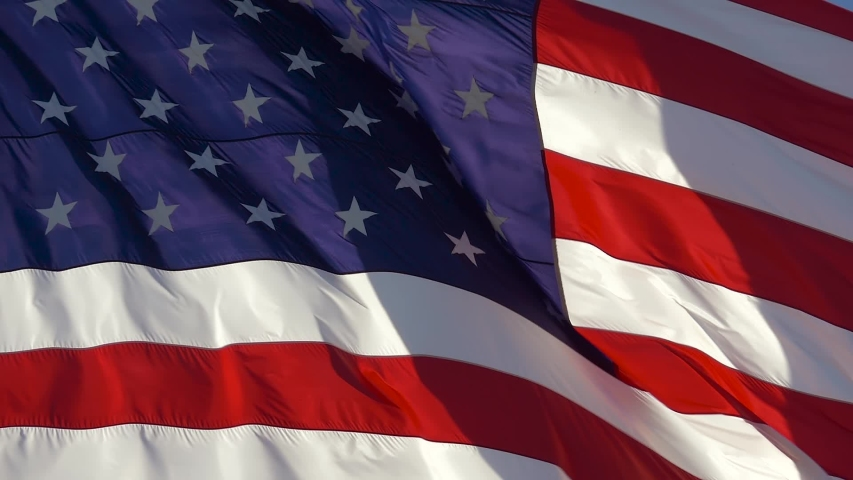 American flag USA background, slow motion, close up. Realistic USA Flag background. Waving American Flag Background. American Flag Closeup. National Patriotism And Celebration With Banner Flying.