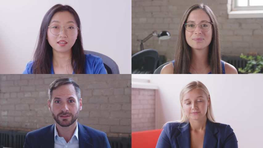 Asian woman leading business people staff team video conferencing in group virtual chat call working from home office. Employees group participating online training, webinar or distance meeting Royalty-Free Stock Footage #1057443328