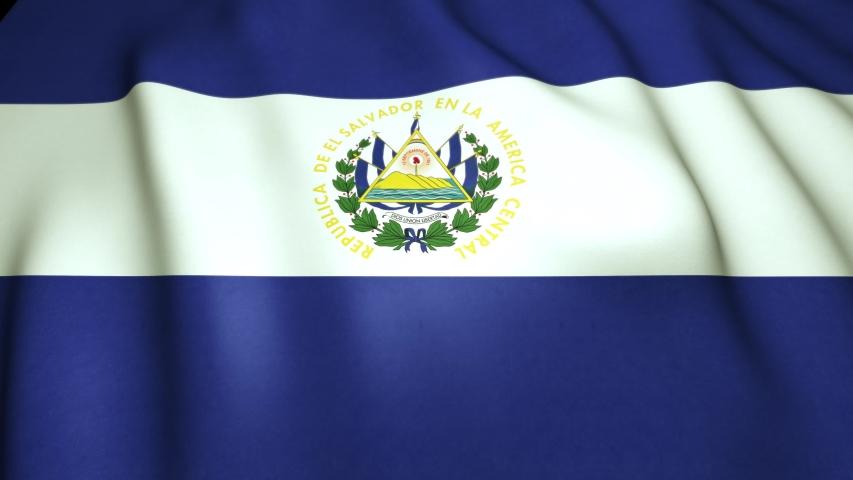Waving realistic El Salvador a flag in 4K, loop animation