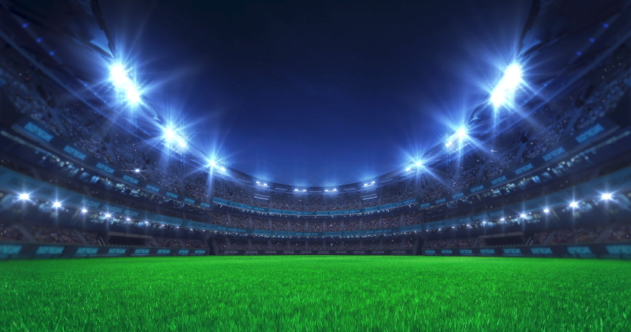 Sport stadium video background with asphalt surface playground, flashing lights and cheering crowd. Glowing stadium lights in 4k loop animation.