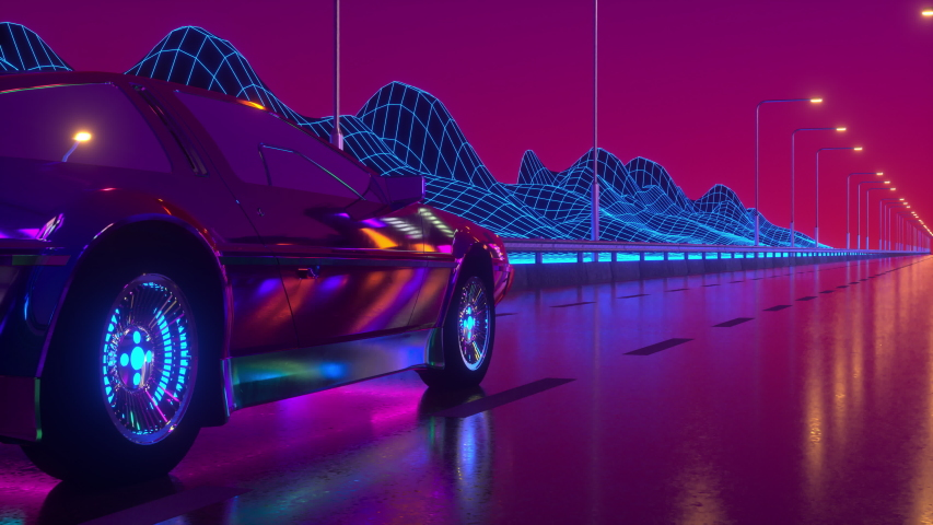 80s retrowave background 3d animation. Futuristic car drive close up. Neon car loop 4k video | Shutterstock HD Video #1057450129