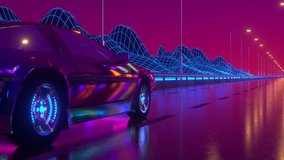 80s retrowave background 3d animation. Futuristic car drive close up. Neon car loop 4k video