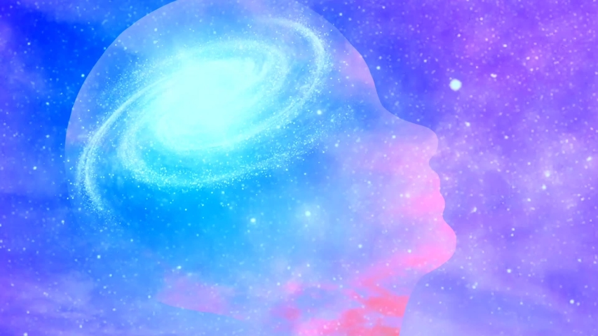 Universal mind. Galaxy inside transparent human head. High quality FullHD footage Royalty-Free Stock Footage #1057452085