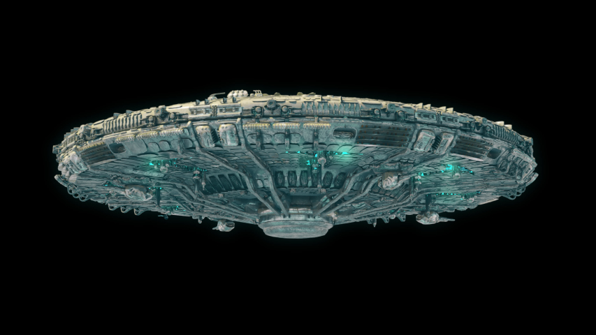 UFO Spaceship Hovering in the sky - Isolated Saucer UFO flying and rotate 4k with alpha channel Low Angle - underside version sci-fi UFO with glowing green light