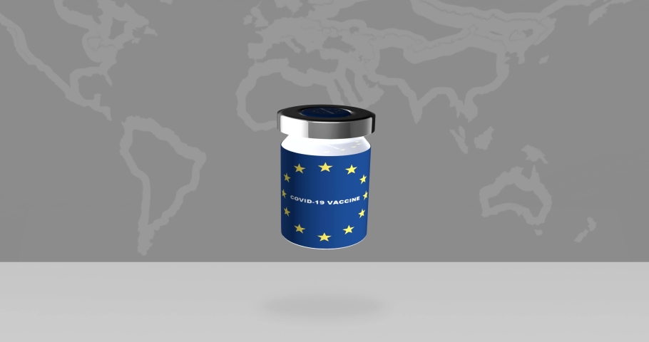 Vaccine bottle for COVID-19. Corona virus vaccine race. Animated vaccine bottle for immunization from COVID-19 with the flag of the European Union in front of gray earth map.
