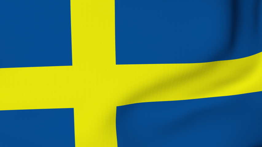 Sweden flag waving in the wind with high quality texture in 4K National Flag of Swedish Flag | Shutterstock HD Video #1057486069