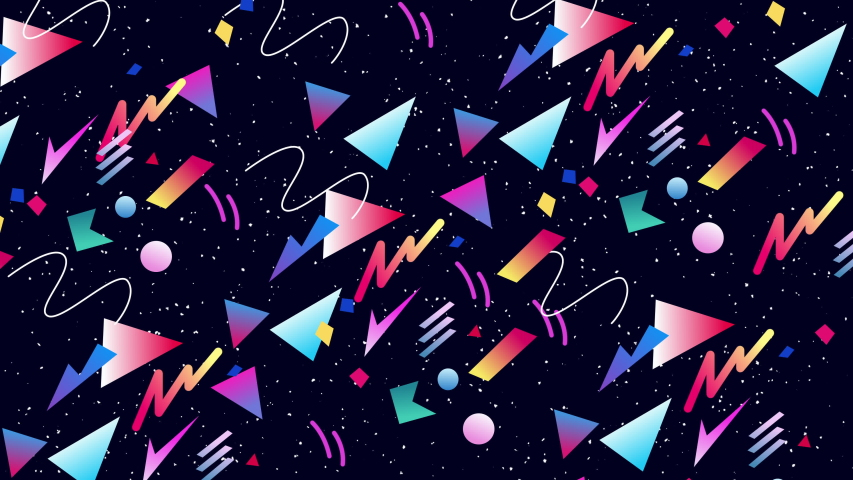Retro abstract 80's 90's design pattern background. Neon style with geometrical shapes of different vintage colors. Seamless loop 4k pop art design. | Shutterstock HD Video #1057489354