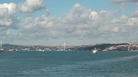Panoramic Istanbul scenes 4K video shooting Sea Sky Blue White clouds lot Cloud wonderful atmosphere ships on the sea boats Istanbul Tourism travel sightseeing vacation buying now.