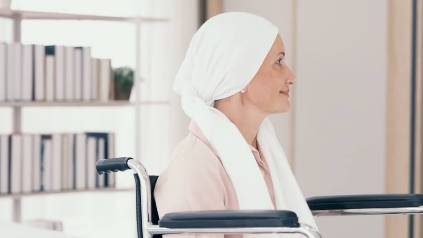 A young girl takes care of  cancer patient. She spends vacation time at nursing home to look after a cancer patient. concept cancer patient need best care.