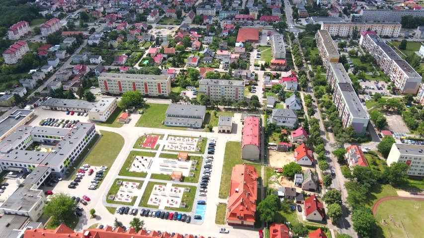 Ilawa, Poland - August 06  2020; Aerial view of District hospital in Ilawa, Poland with helicopter landing platform on the roof | Shutterstock HD Video #1057498438
