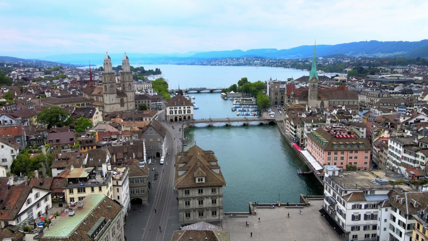 Amazing aerial view over the city of Zurich in Switzerland - drone footage